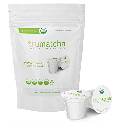 Organic Matcha Green Tea Vanilla Latte Single Serve Cups (Works for Keurig K Cups 1.0 & 2.0 Brewers) Japanese Ceremonial Grade, Rich in Antioxidant, Delicious & Convenient (Vanilla)