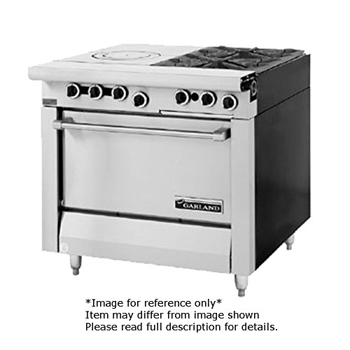 Garland MST54R-E Master Series Heavy Duty 34'' Gas Range with (2) 35,000 BTU Open Burners, (1) 17'' Front Fired Hot Top, (1) Standard Oven & Electric Ignition by Garland