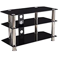 DFM TV Stand Home Entertainment Center Media Console Furniture Cabinet Storage Black
