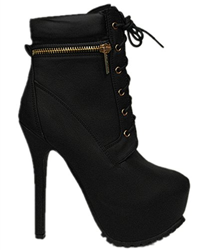 Bella Marie Womens Lace-up Hidden Platform Stiletto High Heel Ankle Boots Black-18