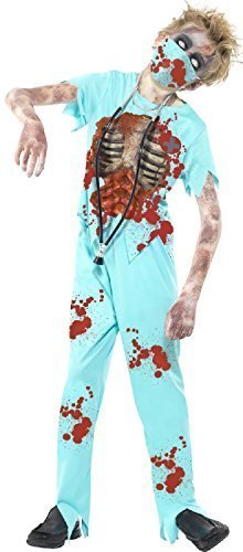 Boys Girls Blood Stained Dead Zombie Surgeon With Mask & Stethoscope Scary Halloween Doctor Fancy Dress Costume Outfit 7-14 Years (10-12 years)]()