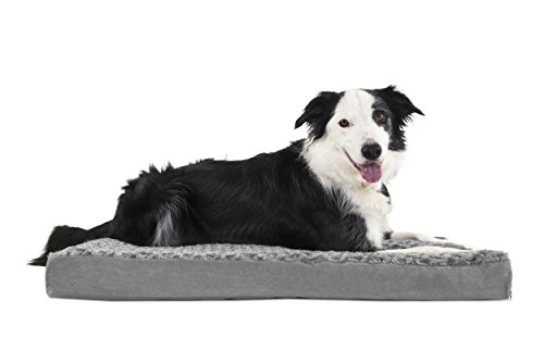 FurHaven Deluxe Memory Foam Ultra Plush Pet Bed for Dogs and Cats, Gray, Large by Furhaven Pet