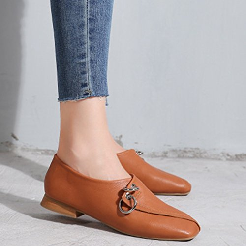 Brown Classic Shoes On Square Penny GIY Oxford Loafer Heel Low Slip Loafers Toe Dress Women's Buckle Casual aU5Sq