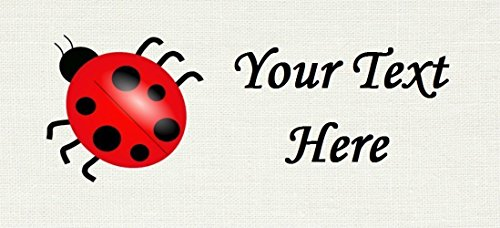 Lady Bug – Cotton Fabric Labels for Handmade Items/Customized Garment Clothing Size Fabric Labels/Personalized Printed Fabric Sew Tag Labels/Quilt, Crochet, Knit, Sewing - Made in USA by Yarn Hookers