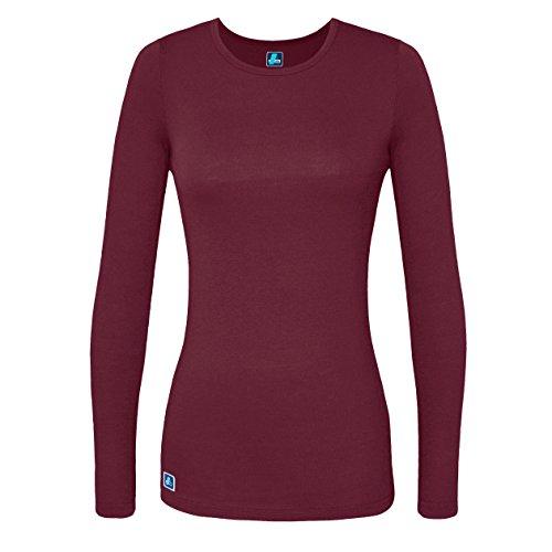 Nursing T-shirt Uniform (Adar Womens Comfort Long Sleeve T-Shirt Underscrub Tee - 2900 - Burgundy - L)