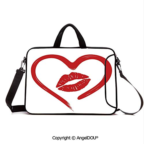 AngelDOU Neoprene Laptop Shoulder Bag Case Sleeve with Handle and Extra Pocket Heart Drawn in Lipstick and Woman Lip Imprint Romance Passion and Tenderness Mes Compatible with MacBook/Ultrabook/HP/A