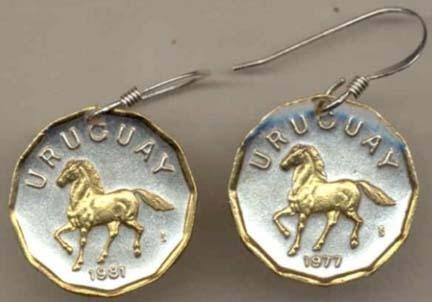l ÒHorseÒ Two Tone Coin Earrings ()