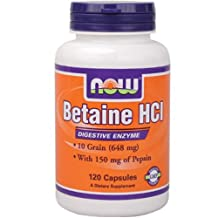 NOW Betaine HCl 648mg with 150mg Pepsin, Capsules