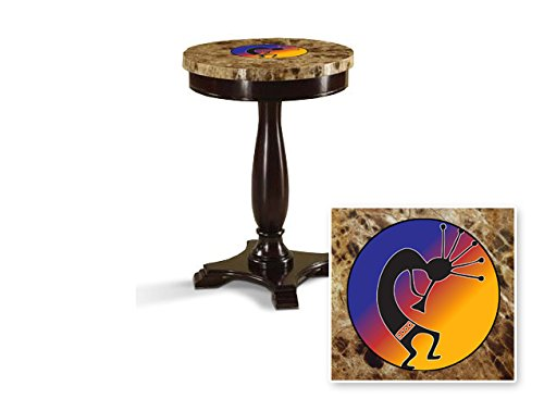 New Round Top Espresso / Cappuccino Finish Night Stand End Table with Faux Marble Table Top featuring Multi-Colored Kokopelli Theme