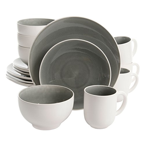 Elite Dinnerware Collection (Gibson Elite Serenity 16 Piece Dinnerware Set, Grey/White)
