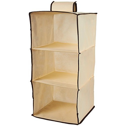 Juvale Hanging Closet Organizer – 3-Tier Storage Rack, Wall Organizer with Cardboard Shelves, Hanging Drawers, Space Saving Design for Clothing Organization, 14.5 x 13.5 x 1 Inches