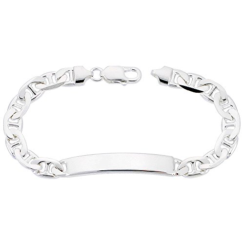 - NYC Sterling Men's Sterling Silver 8mm Mariner ID Bracelet, Made in Italy. (9