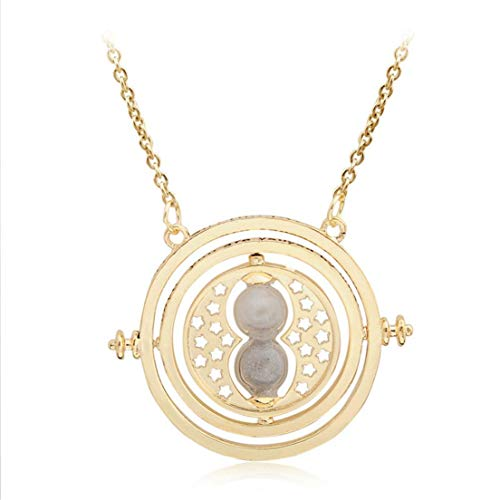 LOVEACH Vintage Time Turner Rotating Necklace Hourglass Pendant Chain Necklace Gift for Women -