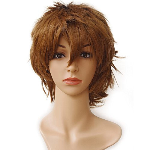 Short Fluffy Anime Wigs for Women Men 21 colors Spiky Unisex Comic Wigs with Oblique Bangs for Halloween Cosplay Costume Party with Free Wig Cap Light - Men 21 Store