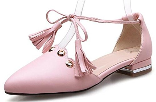 IDIFU Womens Sweet Pointed Toe Low Chunky Heels Self Tie Pumps Shoes Pink PQzKCZ4No