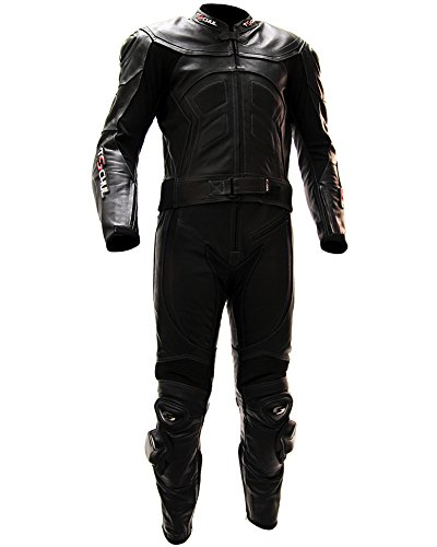 schul® Lederkombi Motorradbekleidung Biker Anzug Zweiteiler Motorradkombi Schwarz, Size: 52