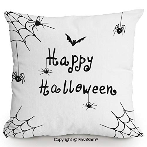 FashSam Home Super Soft Throw Pillow Happy Halloween Celebration Monochrome Hand Drawn Style Creepy Doodle Artwork for Sofa Couch or Bed(14