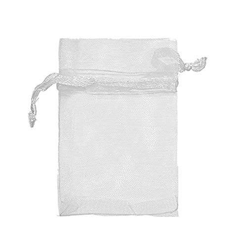 COTOSEY Sosam 100PCS 3x4 Inches Organza Drawstring Pouches Jewelry Party Wedding Favor Gift Bags (3x4, White)