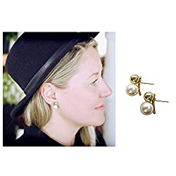 Women's Elegant Goldtone Simulated Pearl Earring