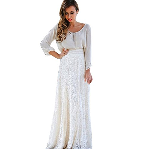 Front Crinkle Chiffon Shirt Button (BODOAO Women Lace Double Layer Pleated Long Maxi Skirt Elastic Waist Skirt)