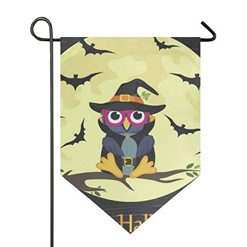 IDO Sweet Home Garden Flag Vertical Double Sided Spring Summer Fantastic Halloween Owl in Witch Costume Outdoor Yard Flags Decorative