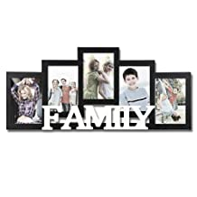 Adeco Decorative Black and White Wood ''Family'' Wall Hanging Picture Photo Frame, 5 Openings, 4x6''