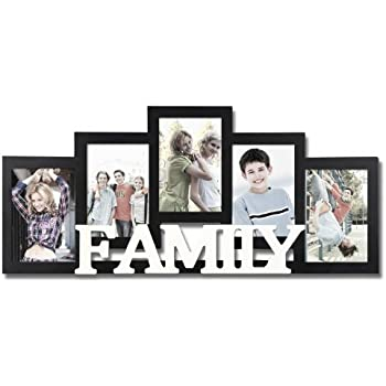 Adeco decorative black and white wood family wall hanging picture photo frame