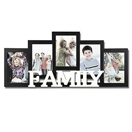 a03ad431c0f Amazon.com - Adeco Decorative Black and White Wood   Family   Wall Hanging  Picture Photo Frame