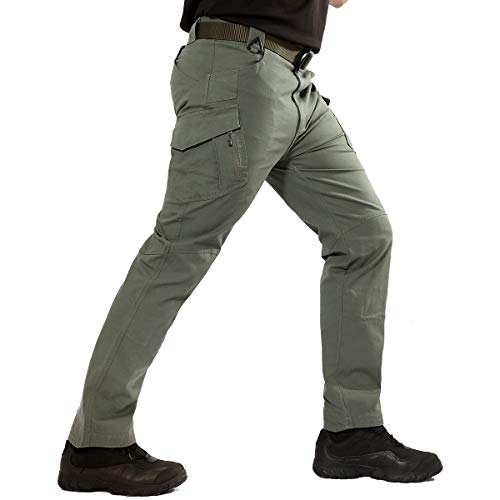 ReFire Gear Men's Tactical Military Cargo Pants SWAT Stretch Cotton Outdoor Hiking Airsoft Trousers with Multi-Function Pockets Army Green