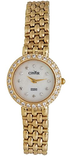 Condor 14kt Gold & Diamond Womens Luxury Swiss Watch Quartz C28DPMOP 14kt Gold Ladys Wrist Watch