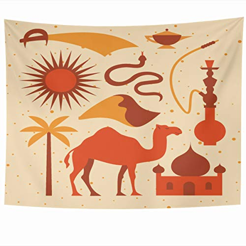 Ahawoso Tapestry Wall Hanging 80x60 Inches Camel Yellow