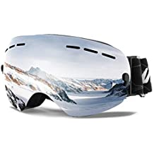Wantdo 180 Degree Ski Goggle Winter Sports Glasses Snowboard Snowmobile Skate Spherical Dual Layers Lens UV400 Protection Anti-Fog OTG Helmet Compatible with Anti-Slip Strap for Men Women Youth
