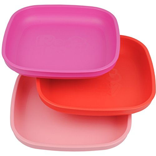 Re-Play Made in USA 3pk Plates with Deep Sides for Easy Baby, Toddler, Child Feeding - Bright Pink, Red, Baby Pink (Valentine)