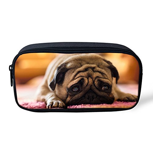 FOR U DESIGNS Creative Pug Dog Pencil Pouch Stationery Makeup Bag for Women -