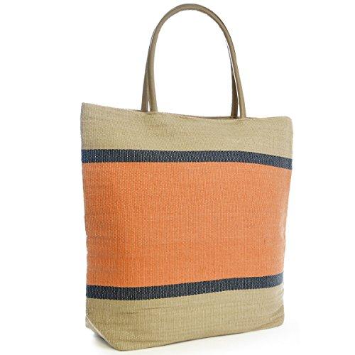 804 Weave Stripe Tote Bag Handbag Beach Orange Womens Summer Shopping Zipper Shoulder Day Ladies SqgOpwSE