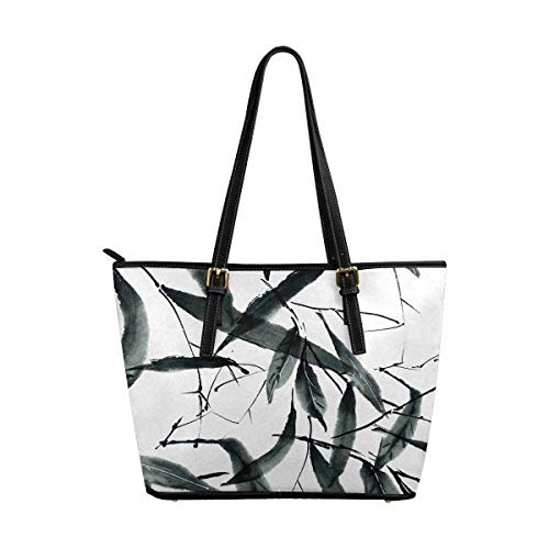 InterestPrint Tote Bags Zippered Tote for Women Overnight HandBags Traditional Oriental Chinese Bamboo Leaves Ink Painting