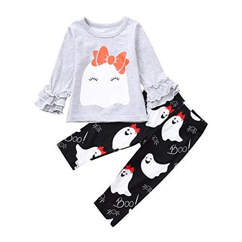 DORIC Baby Girls Halloween Ruched Cartoon Bowknot Tops+Pants