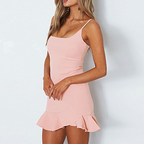Robe Femme Sling Sexy Col Robes sans Dcontracte Manches Youngii Ete Rose Plage Irrgulier Solide Mini Robe V de SUpnxqw446