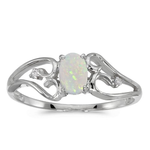 0.19 Carat (ctw) 10k White Gold Oval White Opal and Diamond Accent Heart Shaped Filigree Bypass Fashion Promise Ring (6 x 4 MM) - Size 8