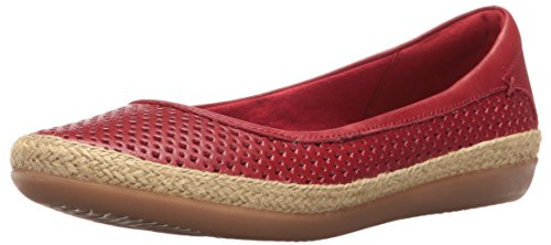 (CLARKS Women's Danelly Adira Ballet Flat, Red Leather, 7 M US )