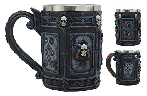 (Ebros A Dead Man's Hand Casino Poker Cards Skull Face Drinking Coffee Mug 14oz Tankard Beer Cup Decor Of Gambling Pirate Skeletons Skulls Pokers Ace Of Spades Vegas Style Horror)