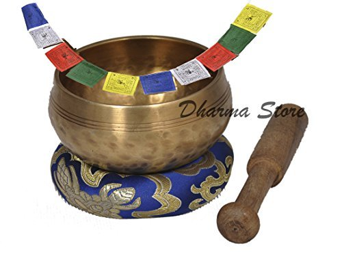 Dharma Store Nepalese Hand Hammered B Crown Chakra Tibetan Meditation Yoga Singing Bowl Set – With Traditional Design Tibetan Buddhist Prayer Flag – H…