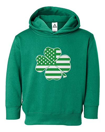 Sheki Apparel Irish American Flag Vintage Shamrock St Patricks Day Little Kids Girls Boys Toddler Hooded Sweatshirt (Green, 2T)
