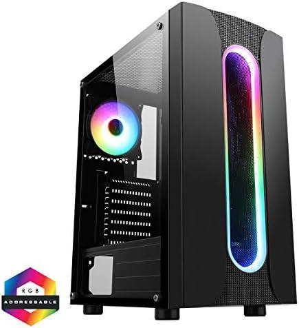 CiT Sauron ARGB PC Gaming Case ATX, 1 Ventilador ARGB de 120 mm Incluido, Tira de LED ARGB incluida, 3 Pines Aura Sync, 8 Soporte de Ventilador, Listo para Enfriar el Agua |