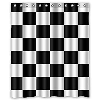 Amazon Design Black White Checkered Pattern Waterproof Bathroom Fabric Shower CurtainBathroom Decor 60 X 72 Inches Clothing