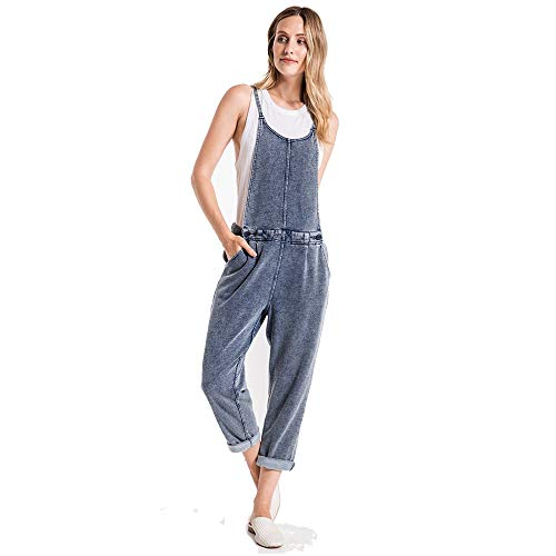 (Z SUPPLY Women's The French Terry Denim Overalls, Indigo (INDGO/IND), Small)