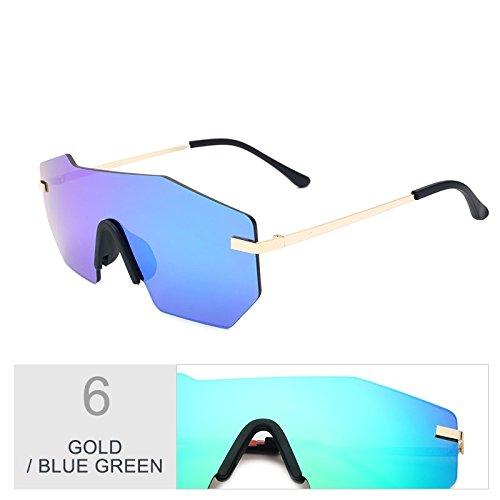 TIANLIANG04 Gafas Silver Blue Green Vintage Gafas De Silver Integrado Gold Sol Sol De Mujer Gafas rwOFqP0xrg