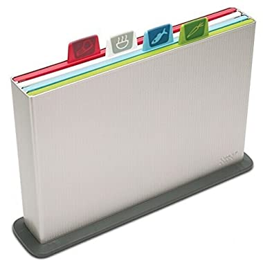 Joseph Joseph 60025 Index Cutting Board Set with Storage Case Plastic Chopping Board Kitchen Prep Color Coded Meat Vegetables Fish Cooked Food Dishwasher Safe Non Slip, Large, Silver