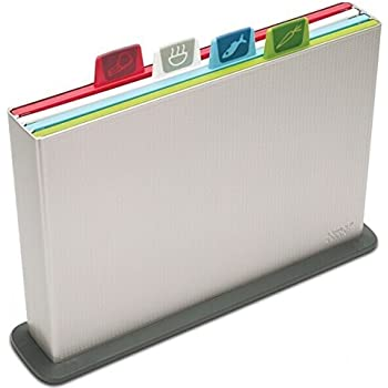 Joseph Joseph 60025 Index Cutting Board Set with Storage Case Plastic Color Coded Dishwasher-Safe, Large, Silver (discontinued model)