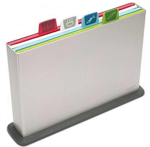 Joseph Joseph 60025 Index Cutting Board Set with Storage Case Plastic Color Coded Dishwasher-Safe, Large, Silver (discontinued model) by Joseph Joseph